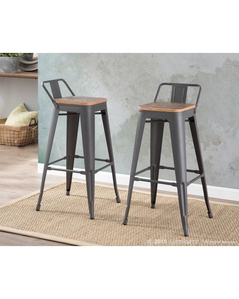 Oregon Industrial Low Back Barstool in Grey and Brown - Set of 2