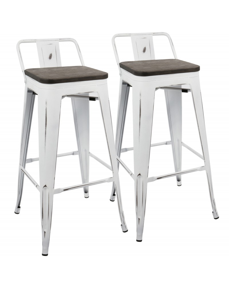 Oregon Industrial Low Back Barstool in Vintage White and Espresso - Set of 2