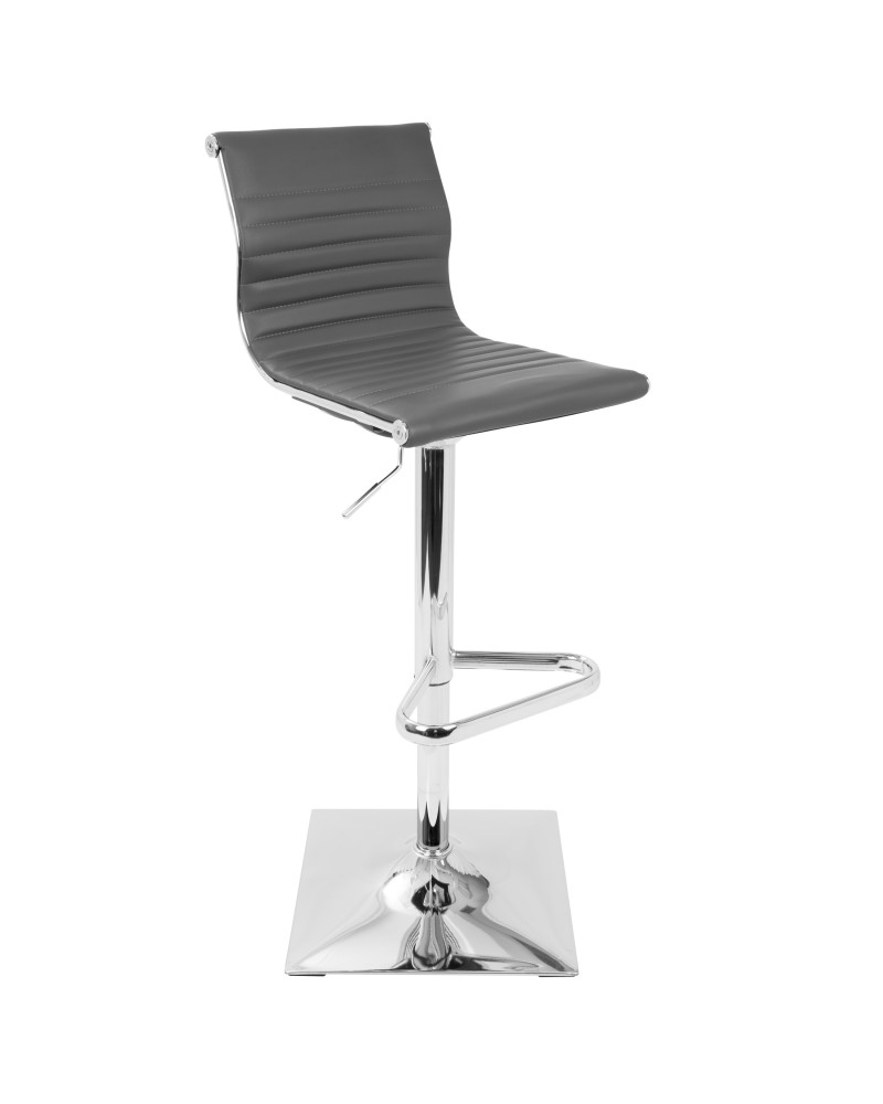 Masters Contemporary Adjustable Barstool with Swivel in Grey Faux Leather