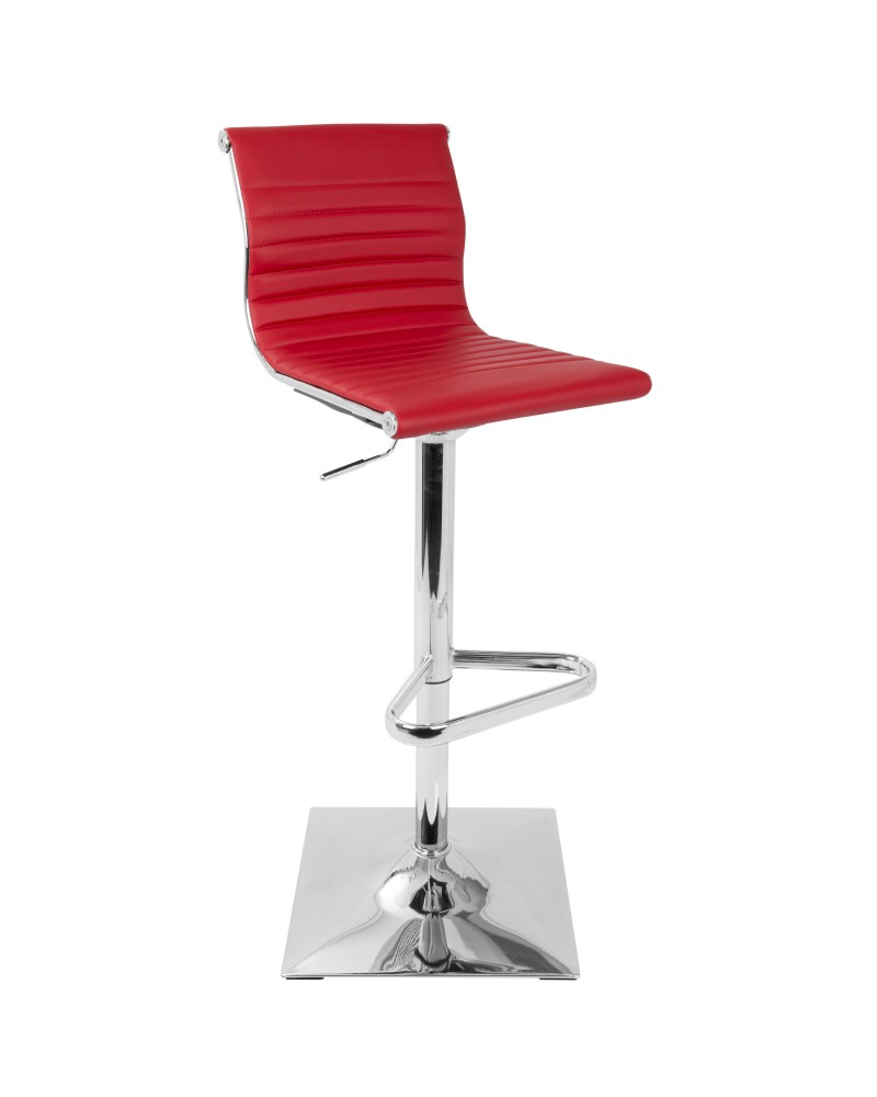 Masters Contemporary Adjustable Barstool with Swivel in Red Faux Leather