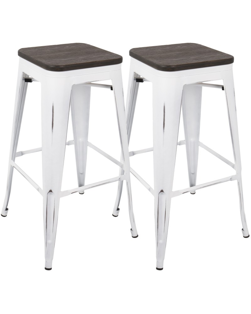 Oregon Industrial Stackable Barstool in Vintage White and Espresso - Set of 2