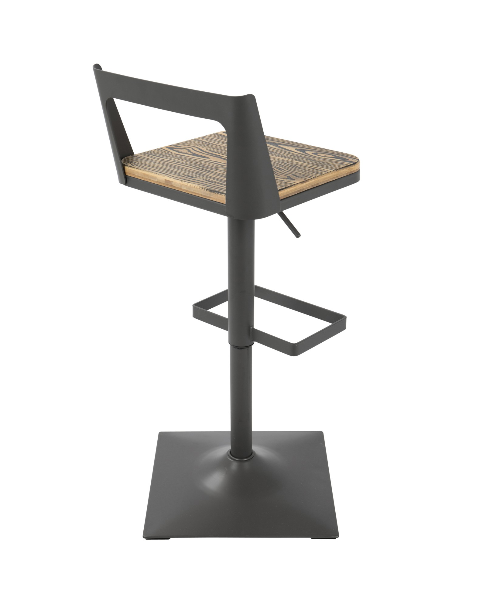 Samurai Industrial Adjustable Barstool in Grey and Brown