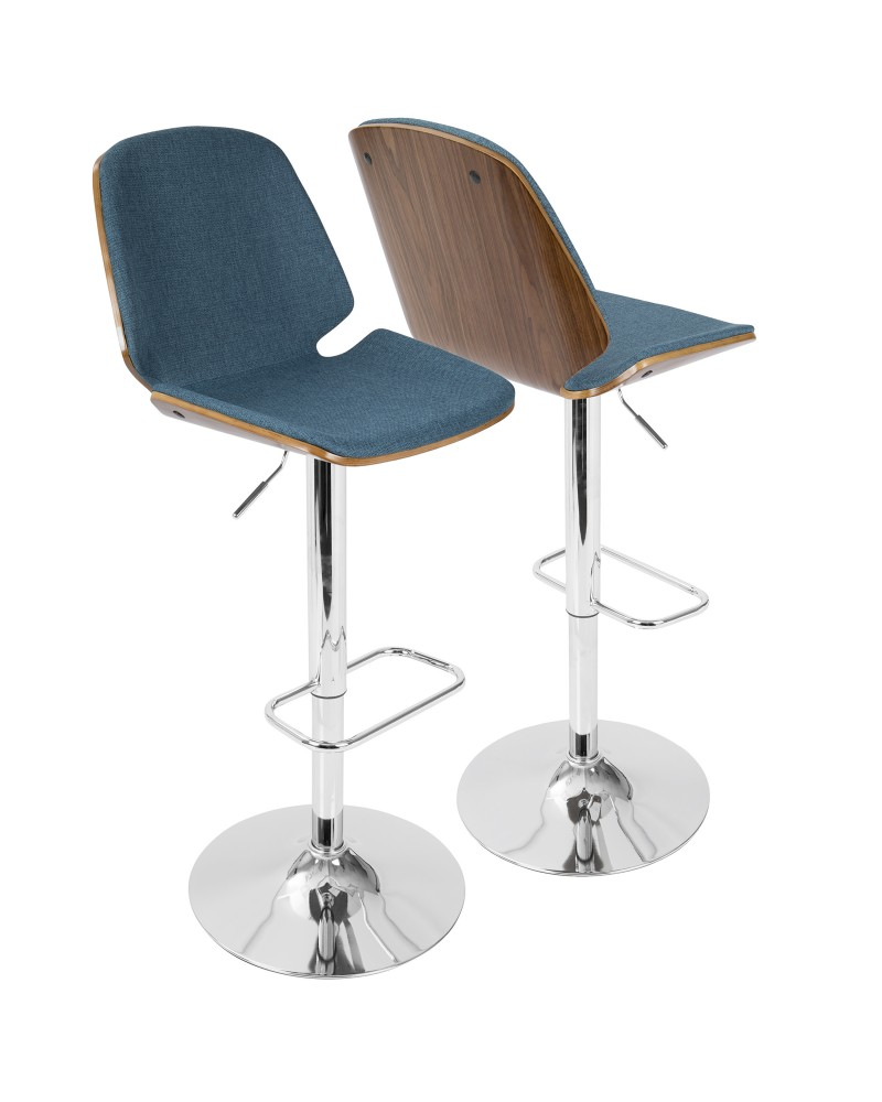 Serena Mid-Century Modern Barstool in Walnut and Blue