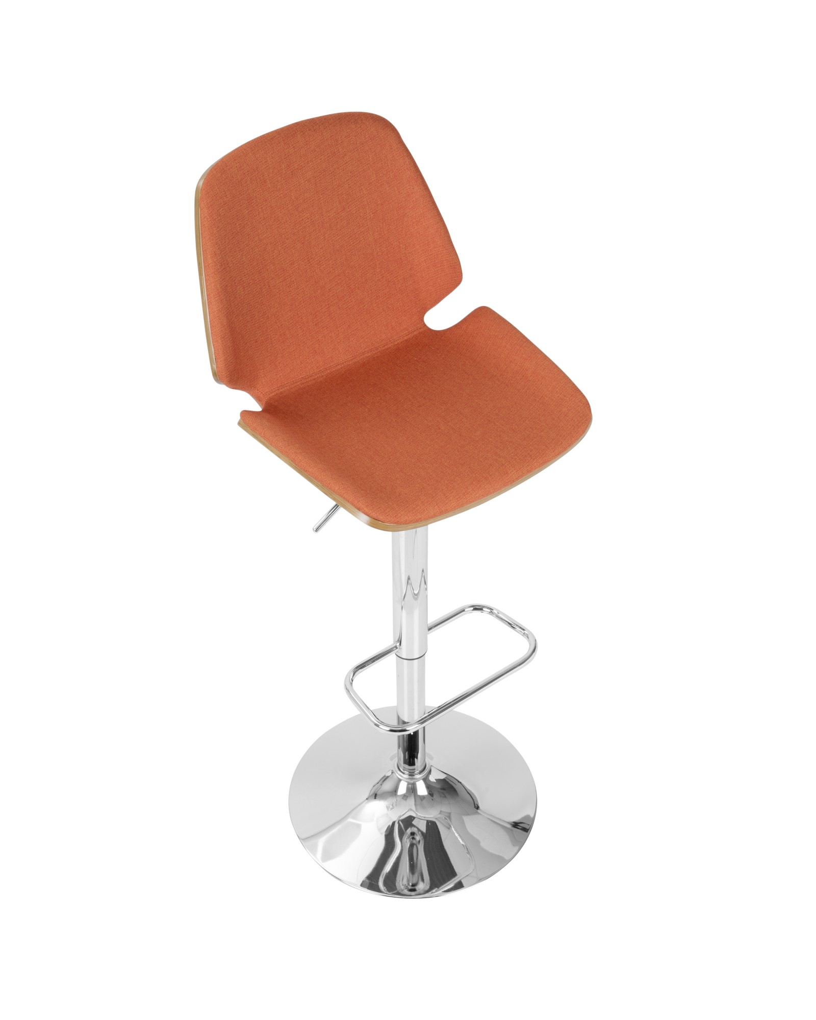 Serena Mid-Century Modern Barstool in Walnut and Orange