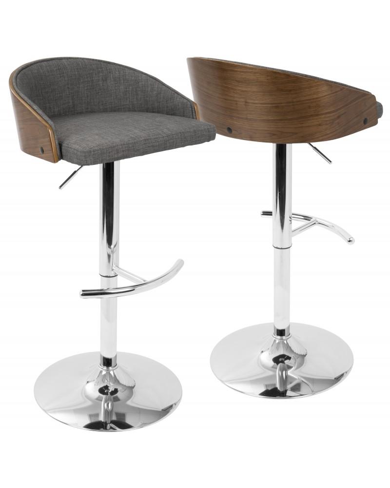 Shiraz Mid-Century Modern Adjustable Barstool in Walnut and Grey
