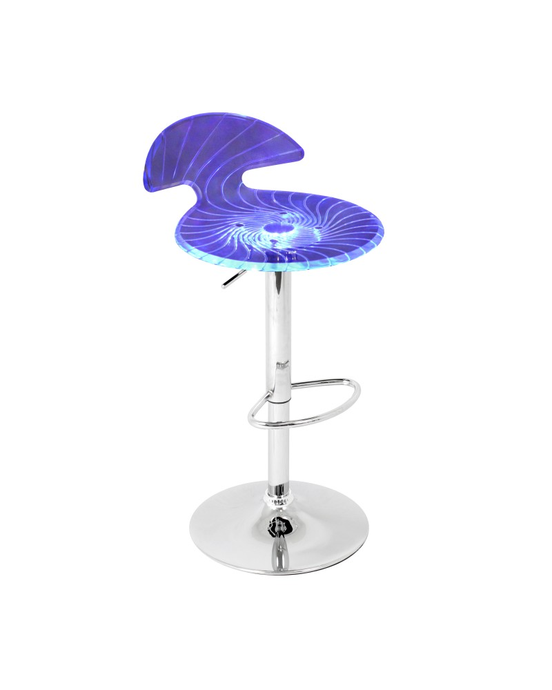 Spyra Contemporary Light Up and Height Adjustable Bar Stool in Multi