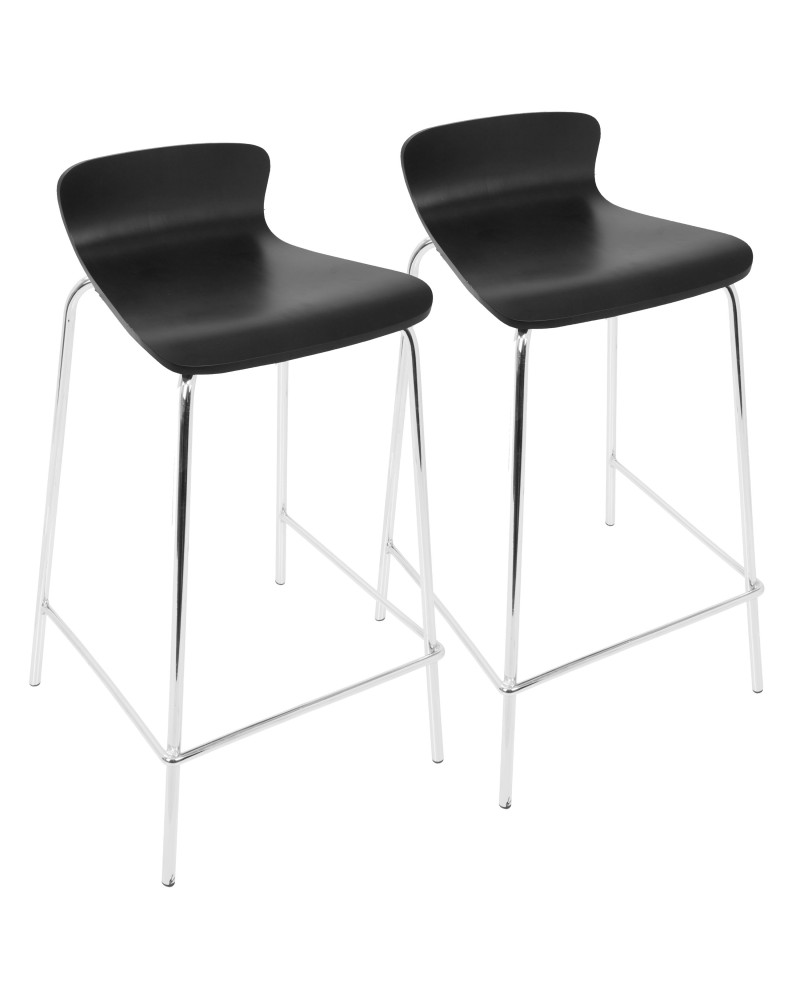 Woodstacker Contemporary Stackable Barstool in Black - Set of 2
