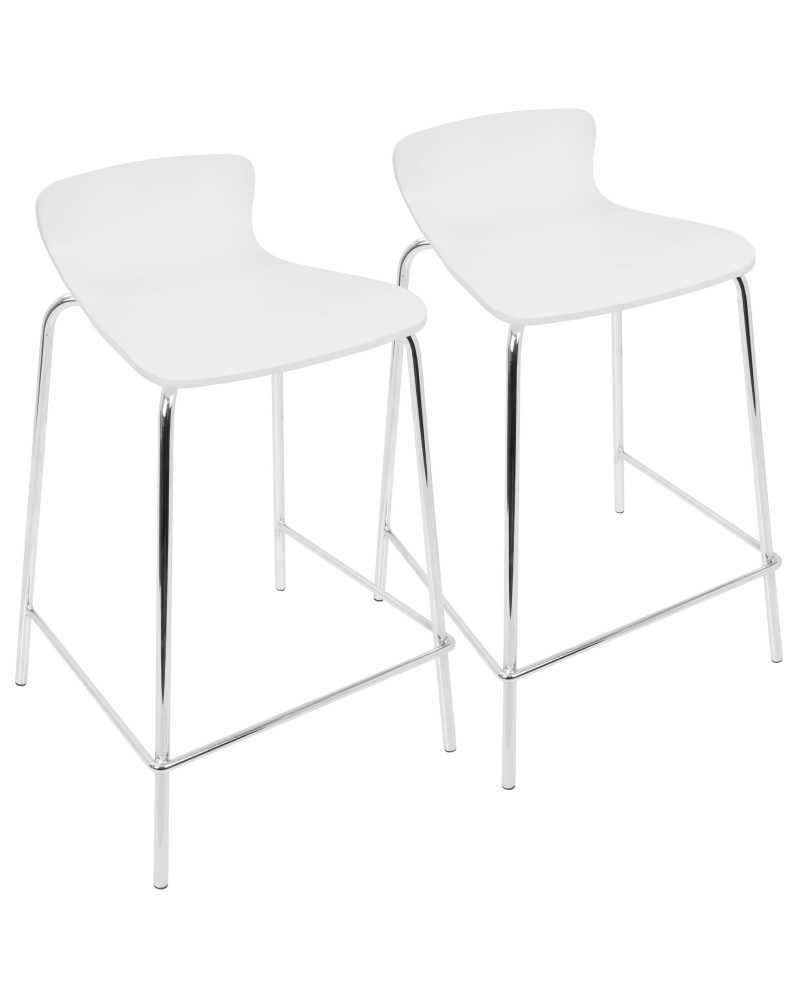 Woodstacker Contemporary Stackable Barstool in White - Set of 2