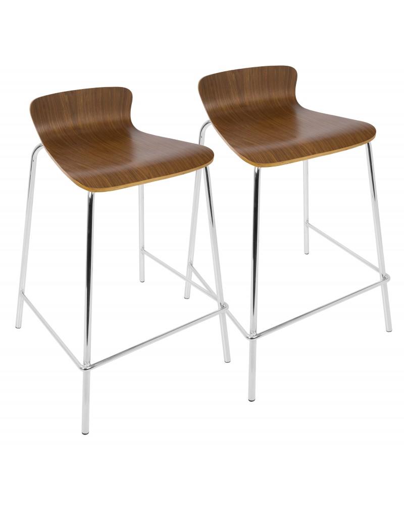 Woodstacker Contemporary Stackable Barstool in Walnut - Set of 2