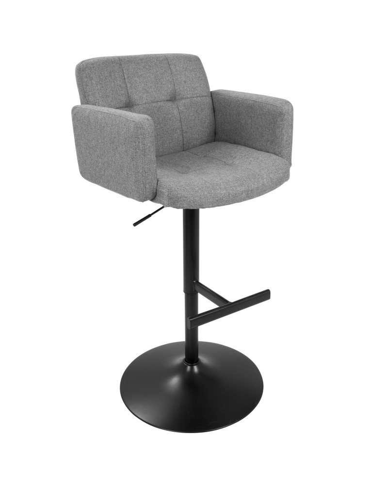 Stout Contemporary Adjustable Barstool with Swivel in Black with Grey Fabric