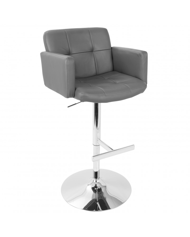 Stout Contemporary Adjustable Barstool with Swivel and Grey Faux Leather