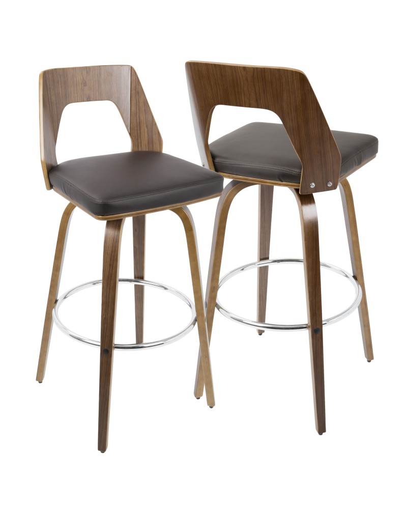 Trilogy Mid-Century Modern Barstool In Walnut And Brown Faux Leather