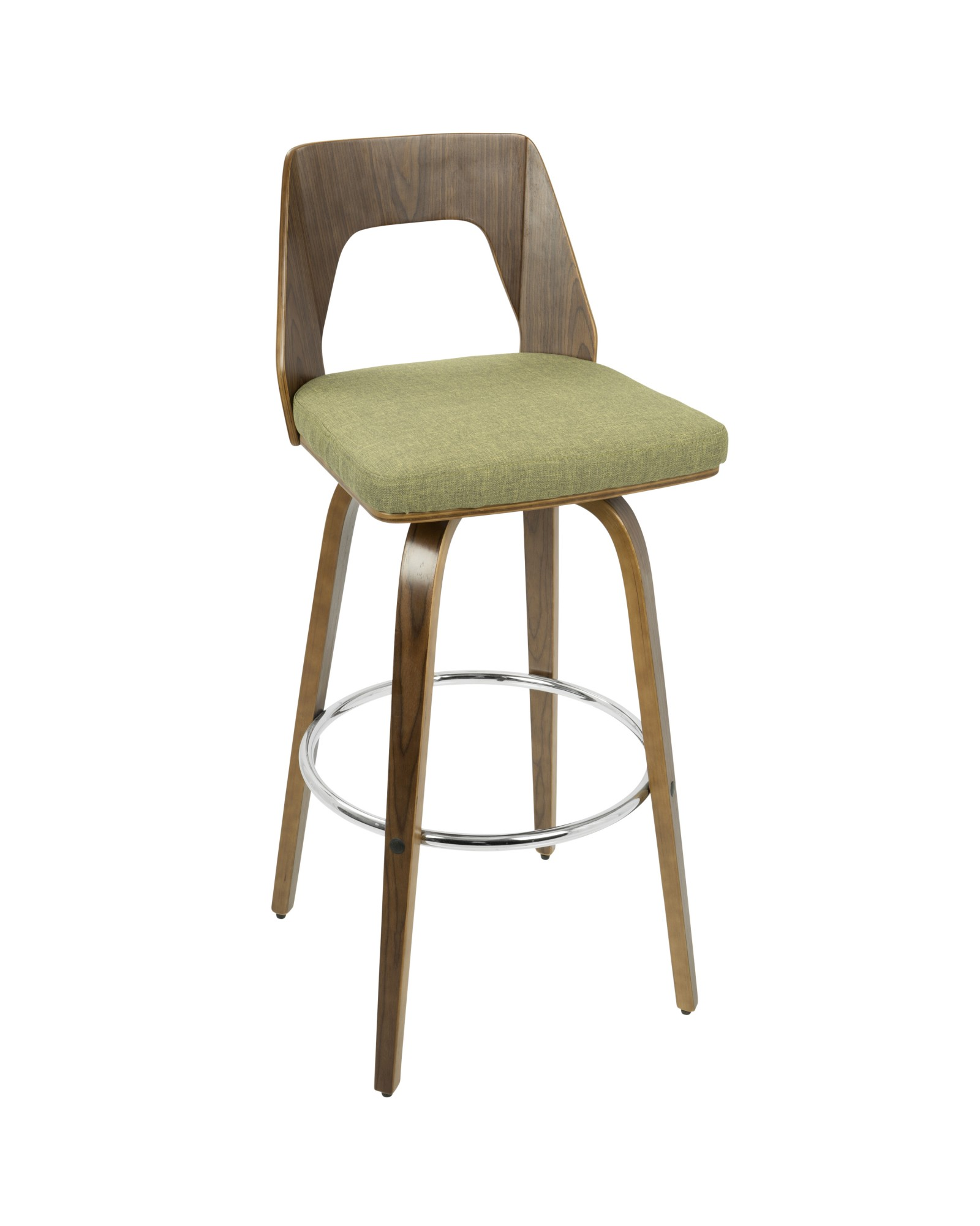 Trilogy Mid-Century Modern Barstool in Walnut and Green Fabric