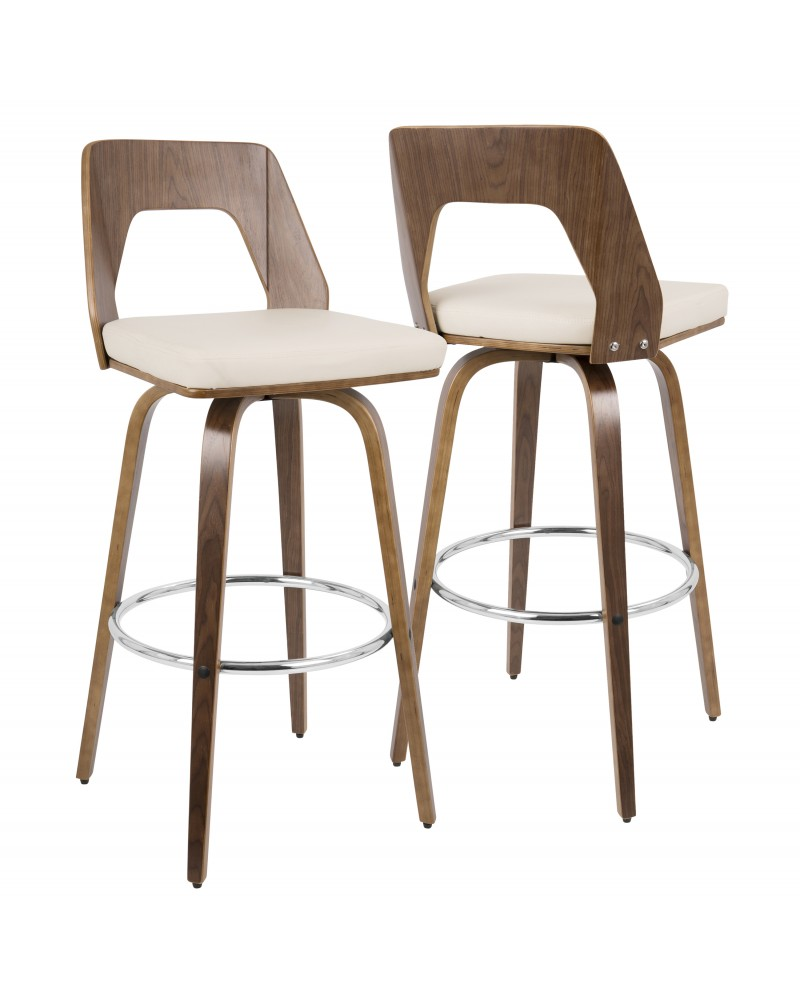 Trilogy Mid-Century Modern Barstool in Walnut and Cream Faux Leather