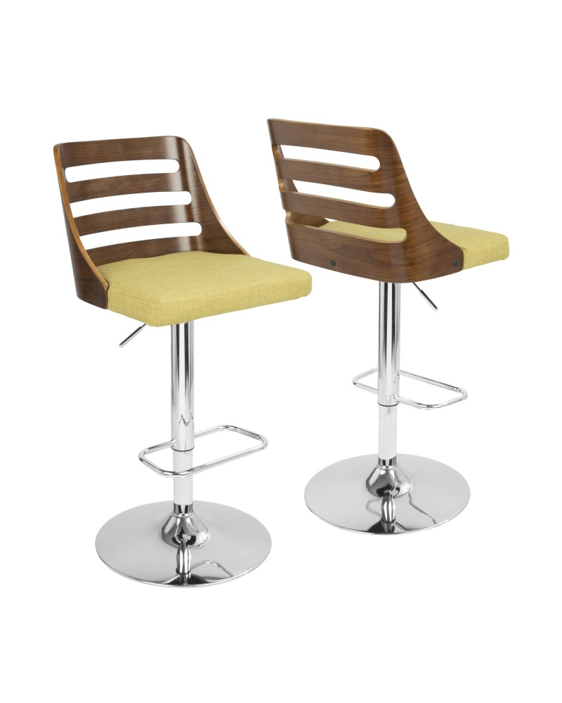 Trevi Mid-Century Modern Adjustable Barstool with Swivel in Walnut and Green