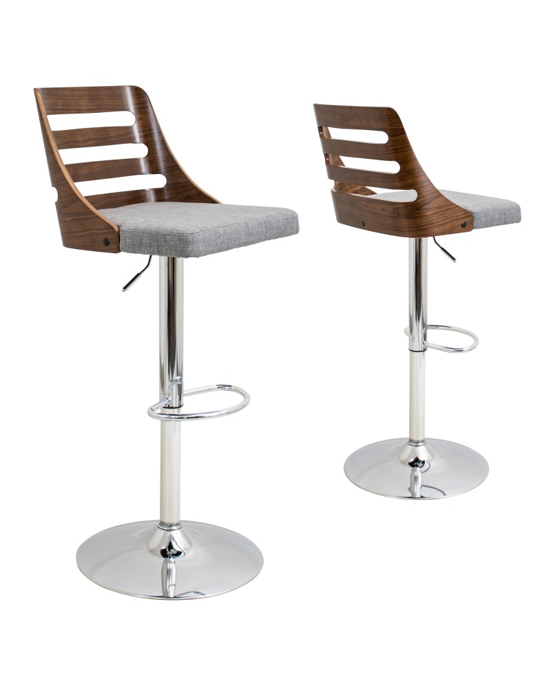 Trevi Mid-Century Modern Adjustable Barstool with Swivel in Walnut and Grey