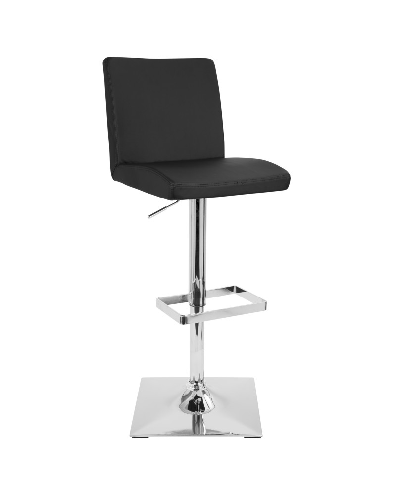 Captain Contemporary Adjustable Barstool with Swivel in Black Faux Leather