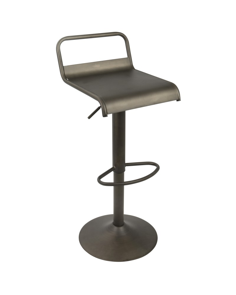 Emery Industrial Adjustable Barstool with Swivel in Antique