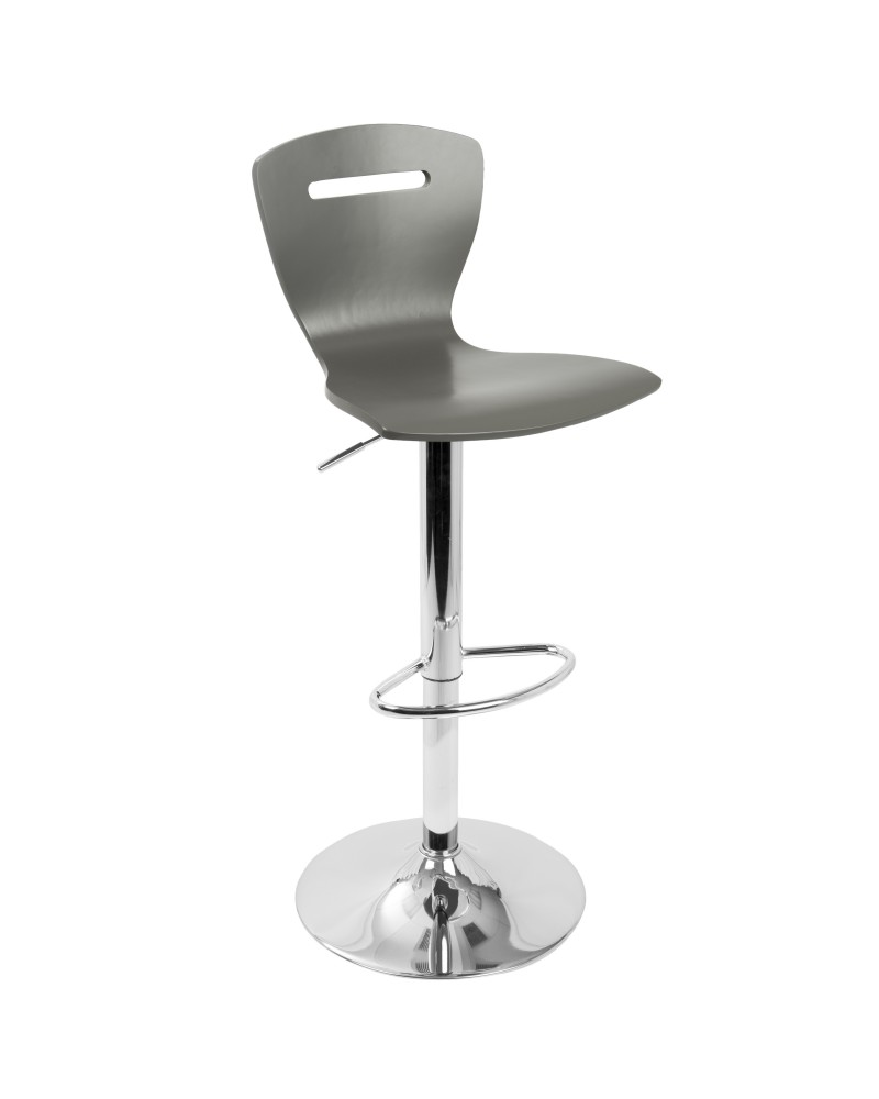 H2 Contemporary Adjustable Barstool in Grey Wood