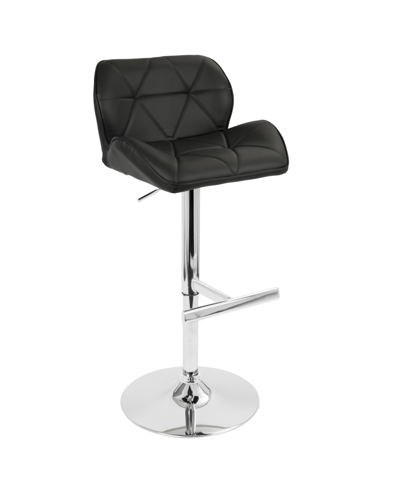 Jubilee Contemporary Adjustable Barstool with Swivel in Black Faux Leather
