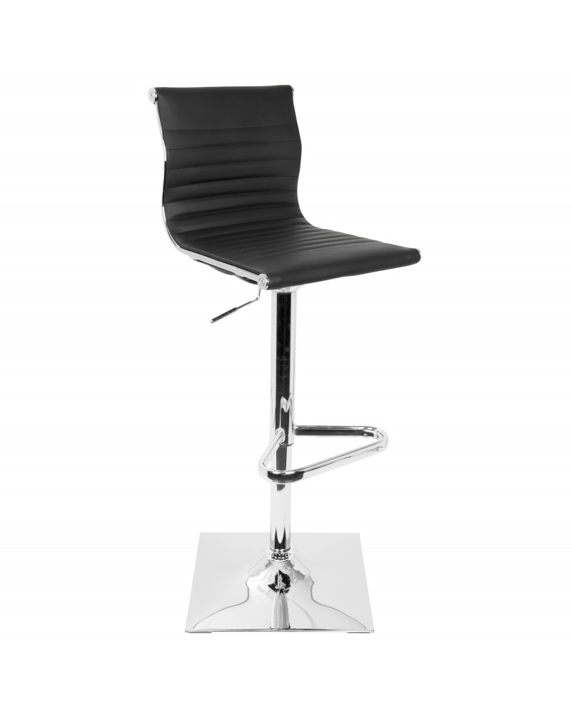 Masters Contemporary Adjustable Barstool with Swivel in Black Faux Leather