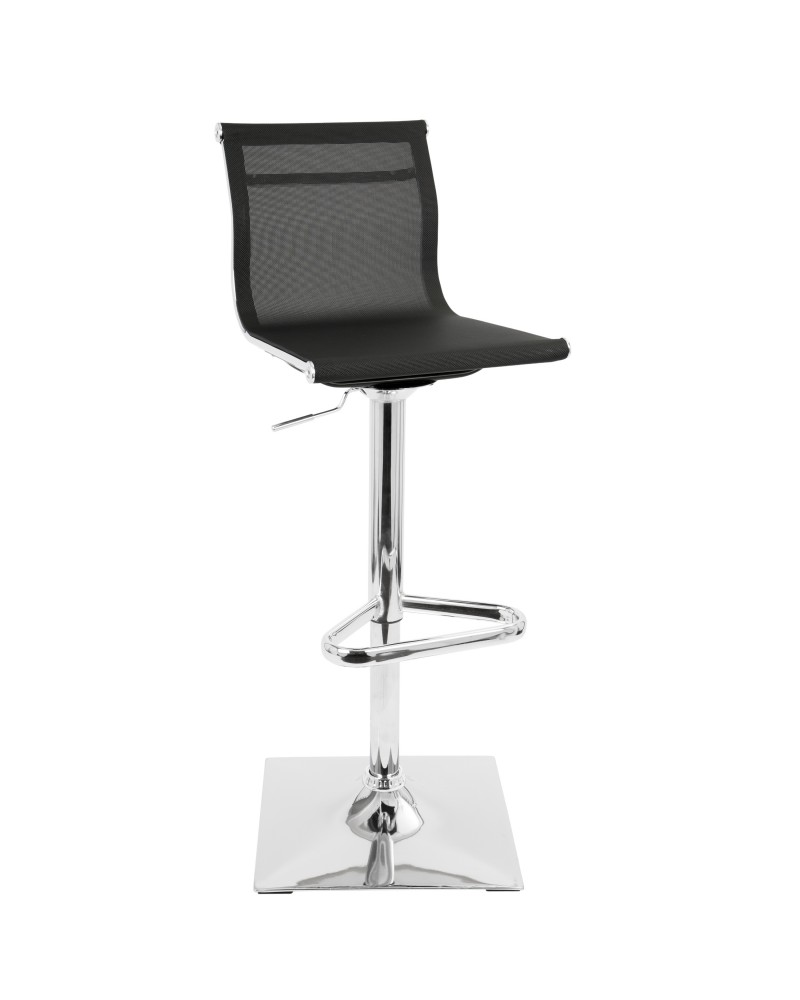 Mirage Contemporary Adjustable Barstool with Swivel in Black