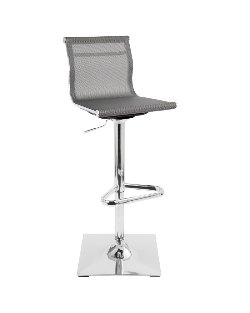 Mirage Contemporary Adjustable Barstool with Swivel in Silver