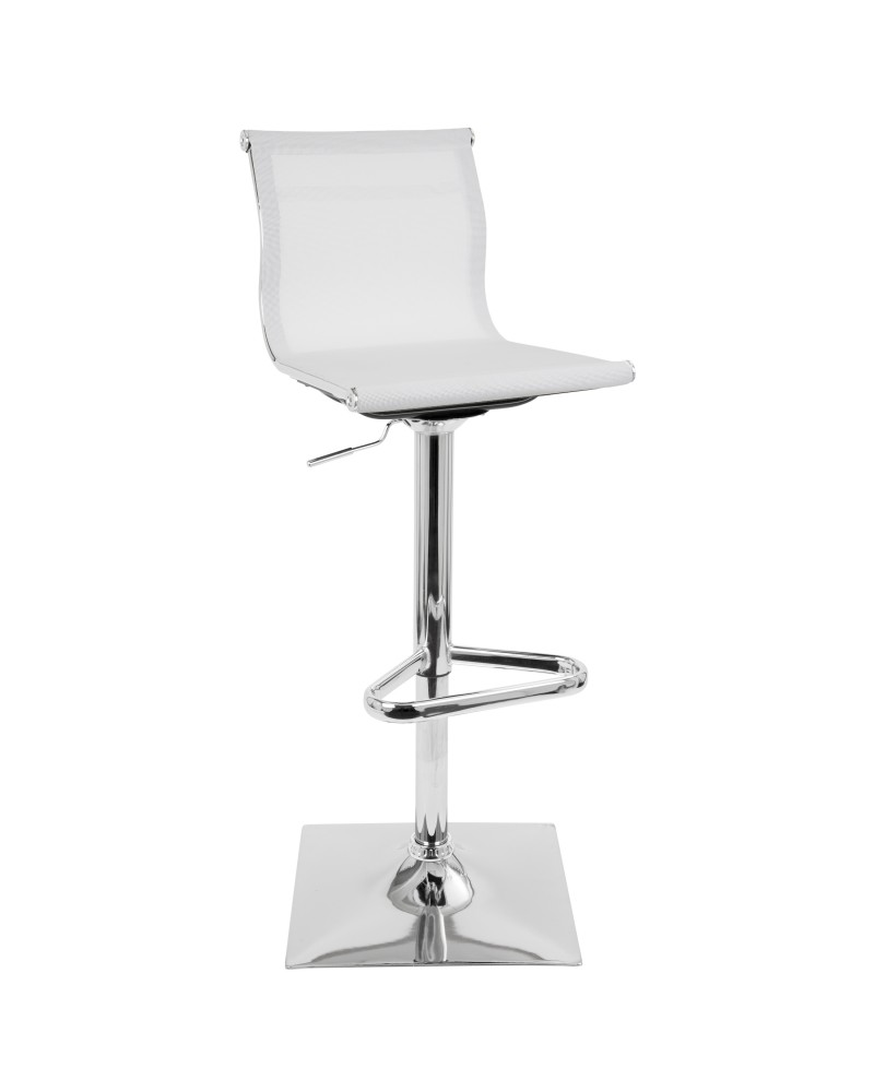 Mirage Contemporary Adjustable Barstool with Swivel in White