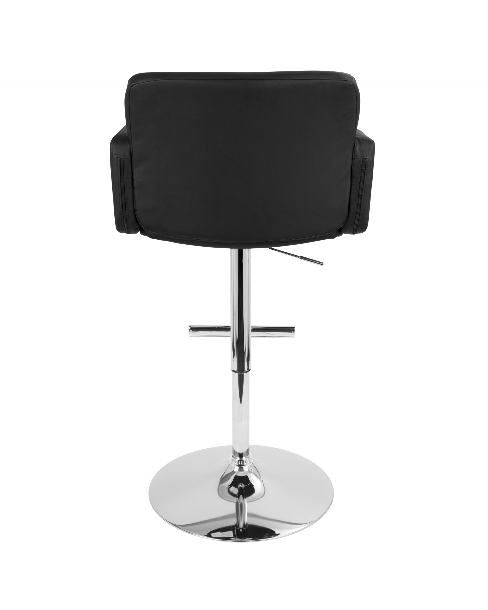 Stout Contemporary Adjustable Barstool with Swivel and Black Faux Leather