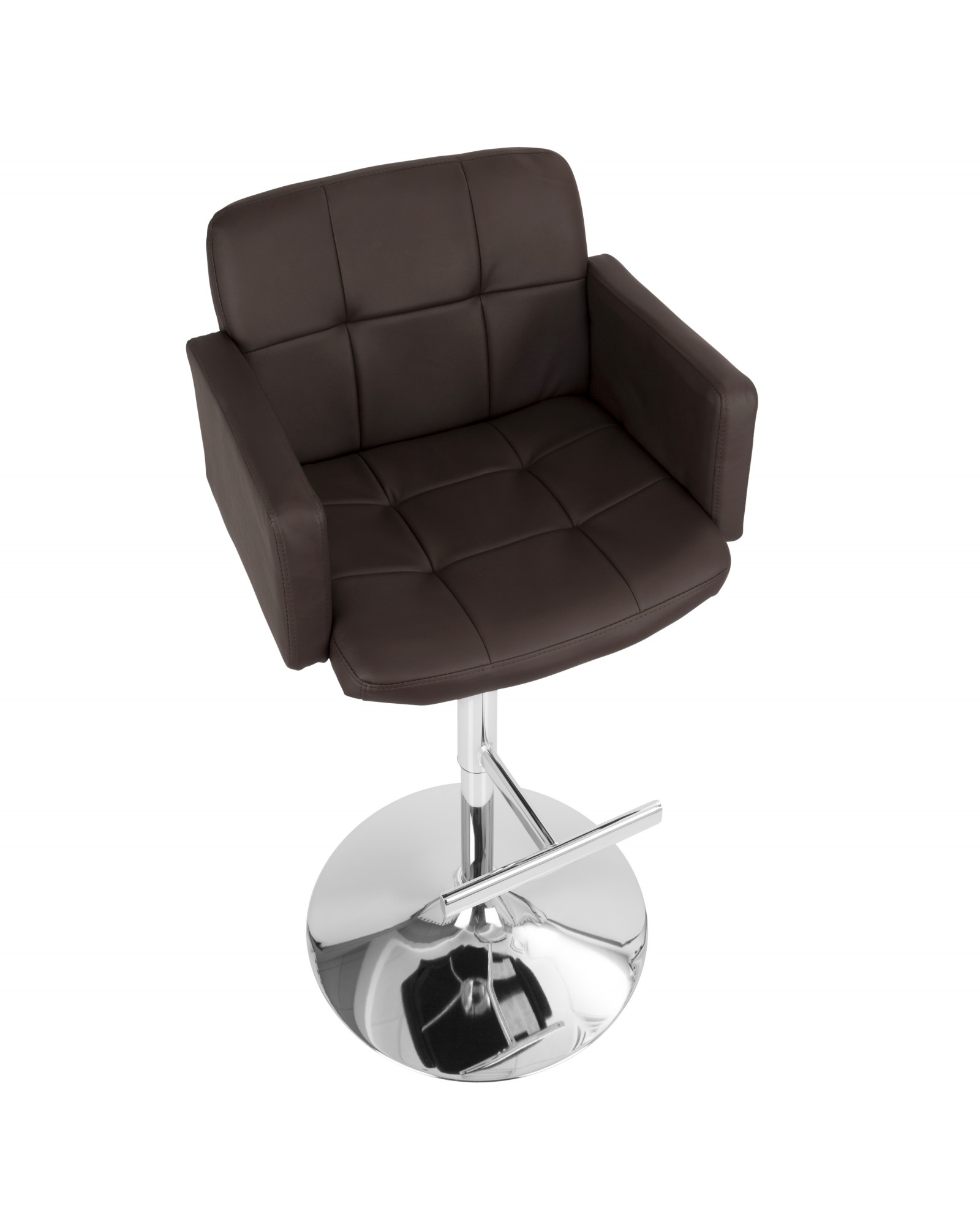 Stout Contemporary Adjustable Barstool with Swivel and Brown Faux Leather
