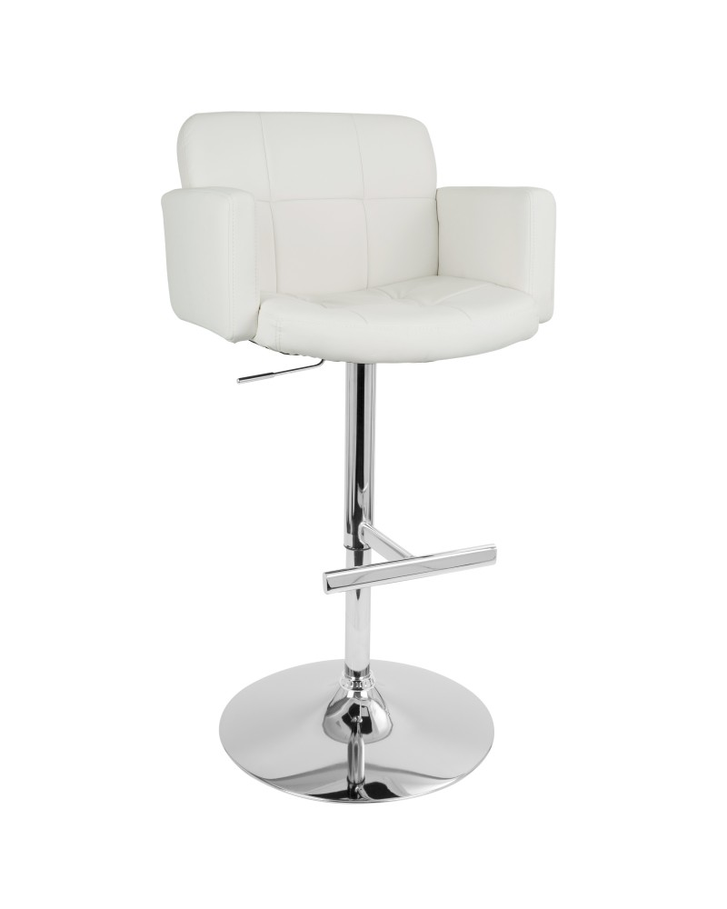 Stout Contemporary Adjustable Barstool with Swivel and White Faux Leather