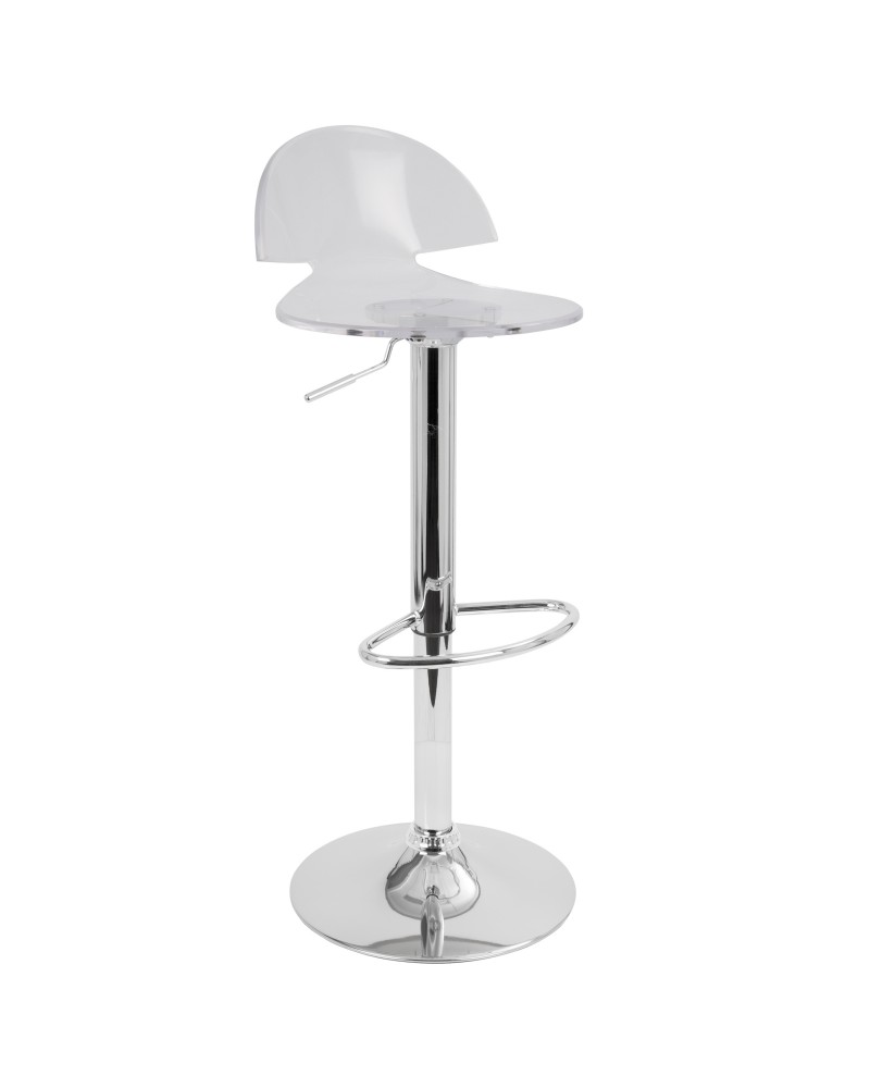 Venti Contemporary Adjustable Barstool with Swivel in Clear Acrylic