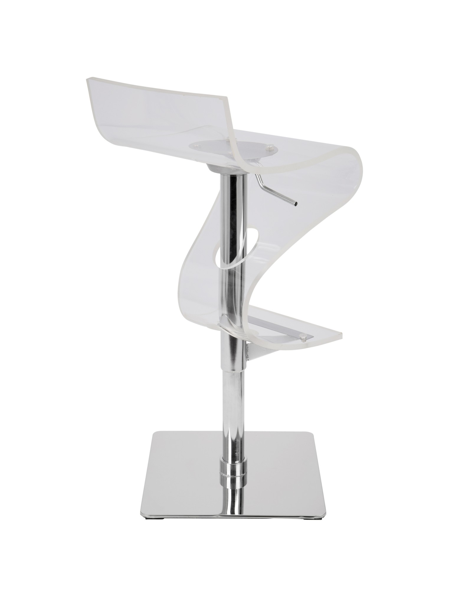Viva Contemporary Adjustable Barstool with Swivel in Clear Acrylic