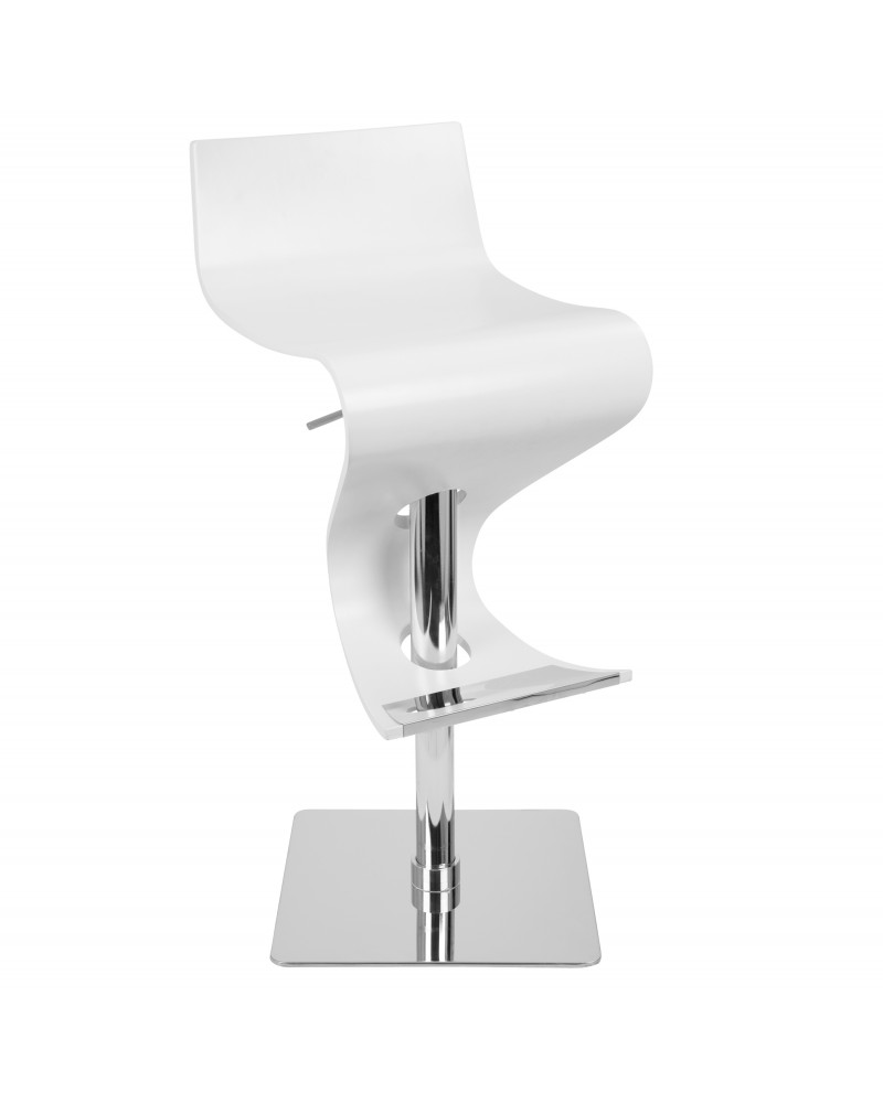 Viva Contemporary Adjustable Barstool with Swivel and White Wood