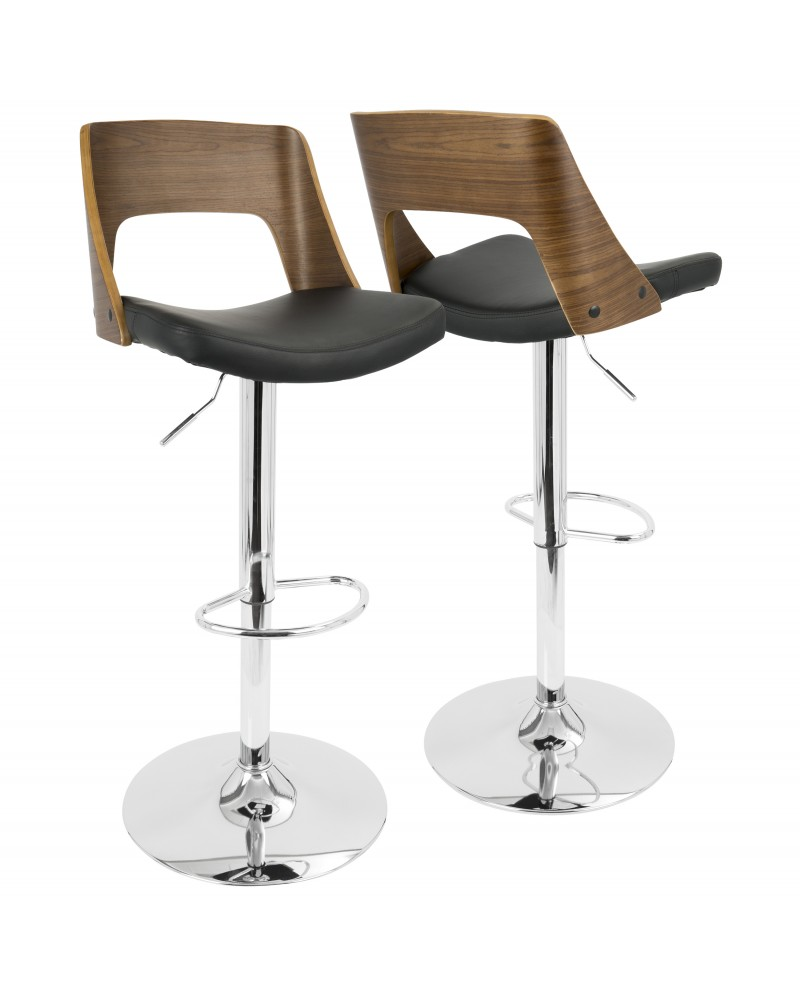 Valencia Mid-Century Modern Adjustable Barstool with Swivel in Walnut and Black Faux Leather