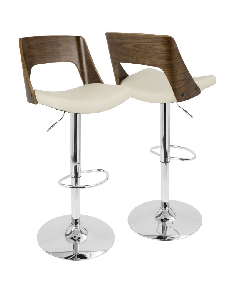 Valencia Mid-Century Modern Adjustable Barstool with Swivel in Walnut and Cream Faux Leather