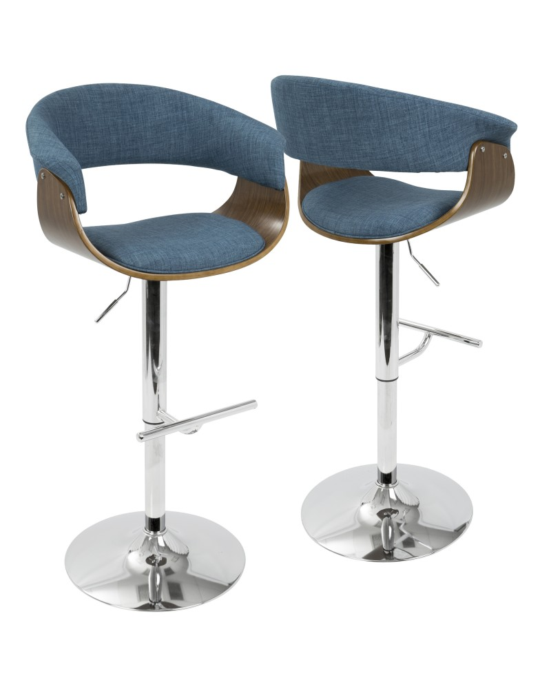 Vintage Mod Mid-Century Modern Adjustable Barstool with Swivel in Walnut and Blue Fabric