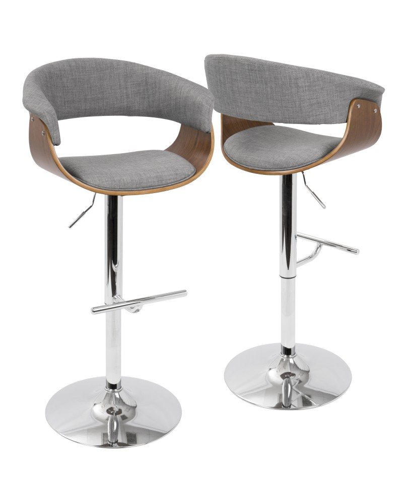 Vintage Mod Mid-Century Modern Adjustable Barstool with Swivel in Walnut and Light Grey Fabric