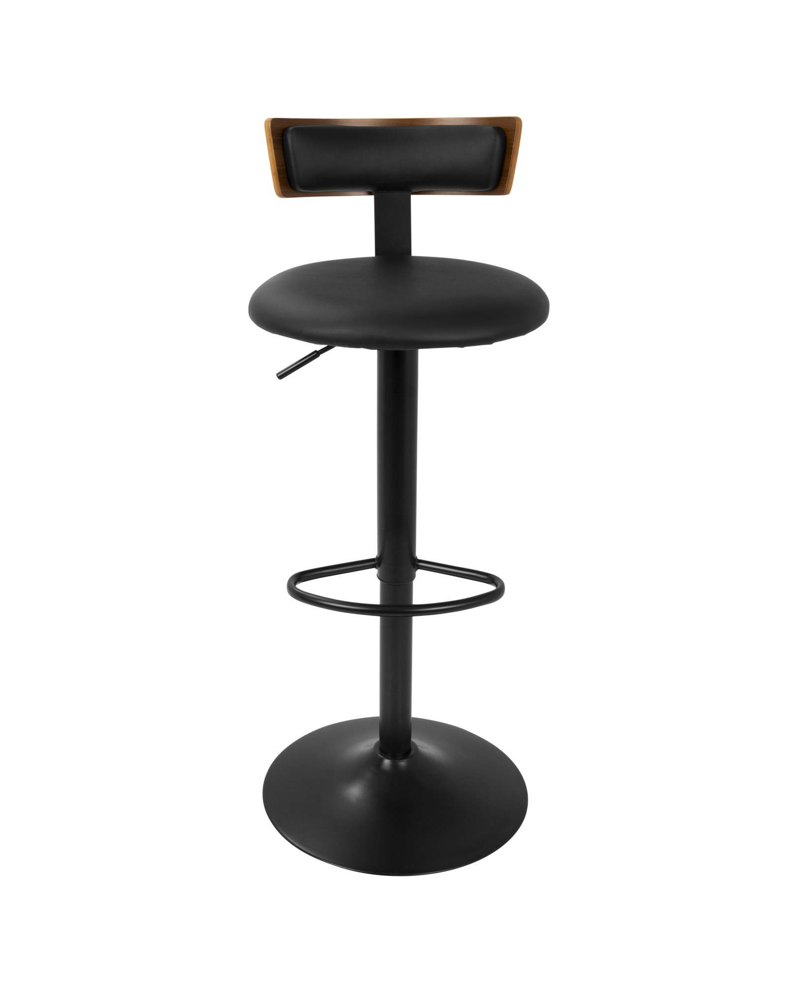 Weller Contemporary Barstool with Black Frame, Walnut Wood, and Black Faux Leather