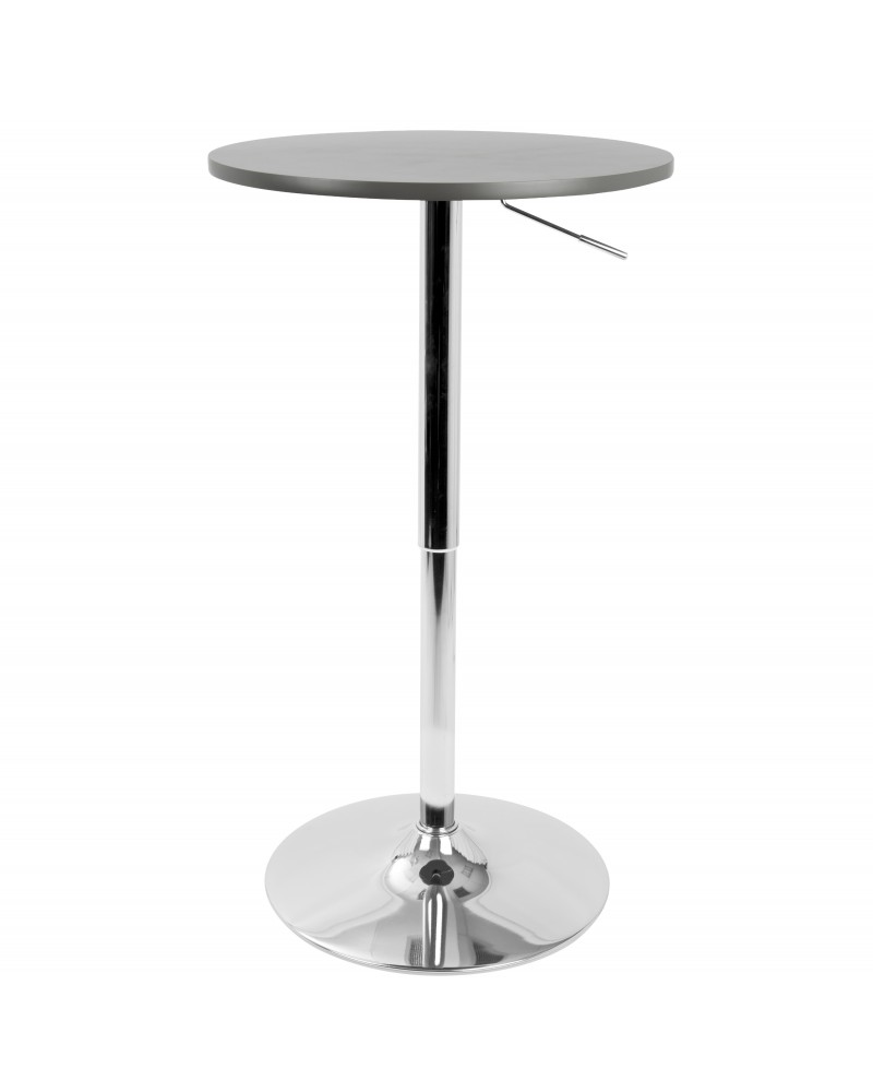 Adjustable Contemporary Bar Table in Grey
