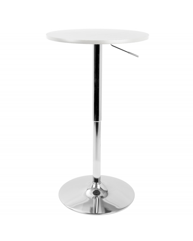 Adjustable Contemporary Bar Table in White