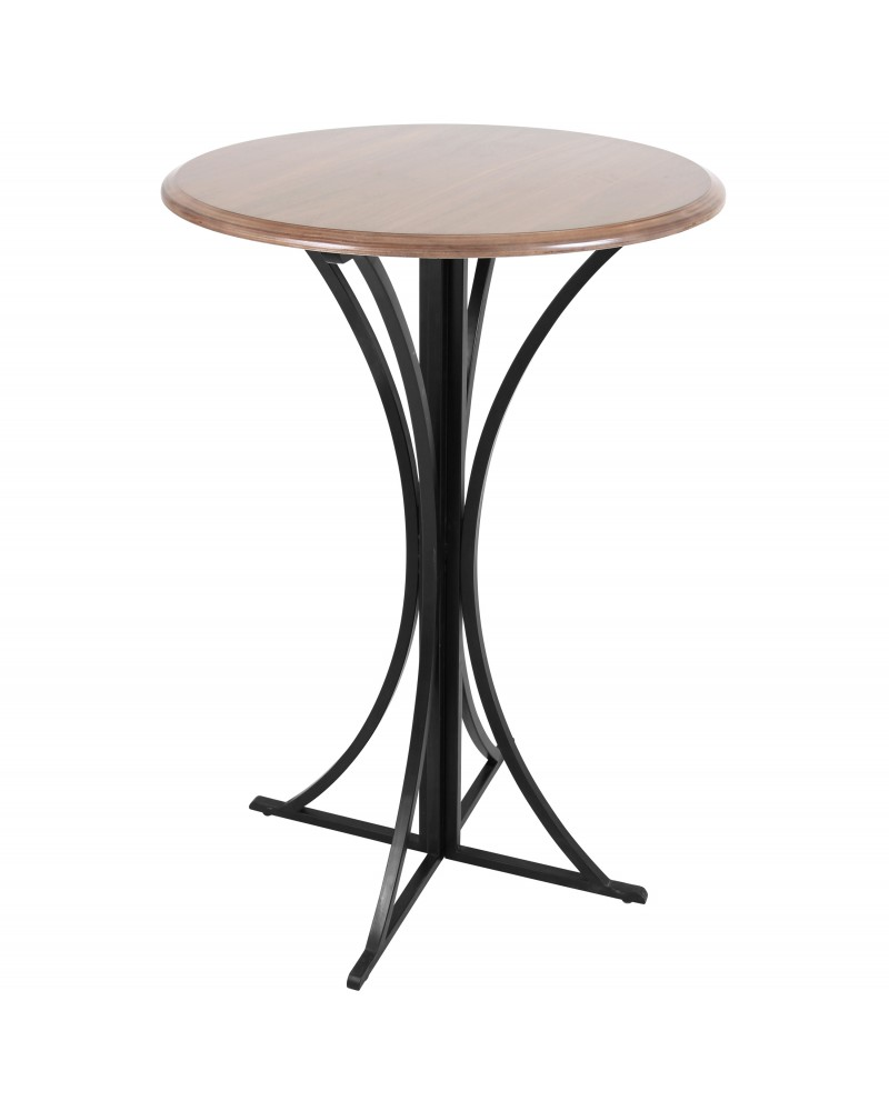 Boro Contemporary Bar Table in Walnut and Black