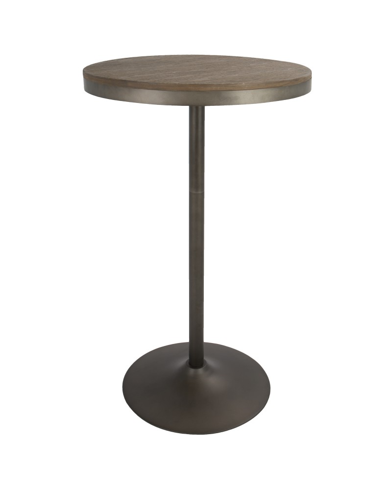 Dakota Industrial Adjustable Bar / Dinette Table in Antique and Brown