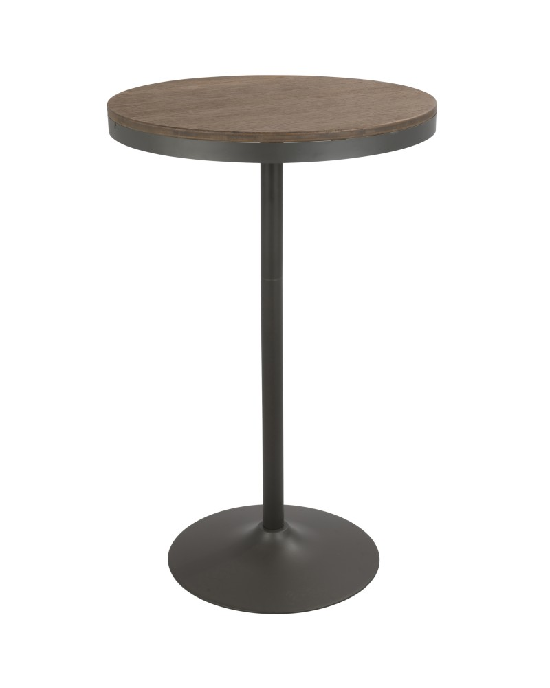 Dakota Industrial Adjustable Bar / Dinette Table in Grey and Brown