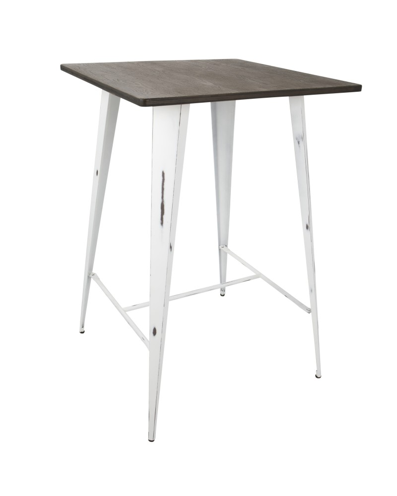 Oregon Industrial Table in Vintage White and Espresso LumiSource