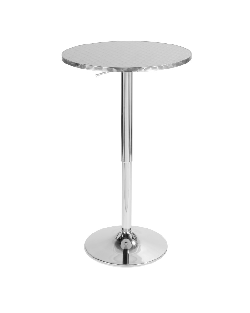 Bistro Contemporary Adjustable Round Bar Table in Silver