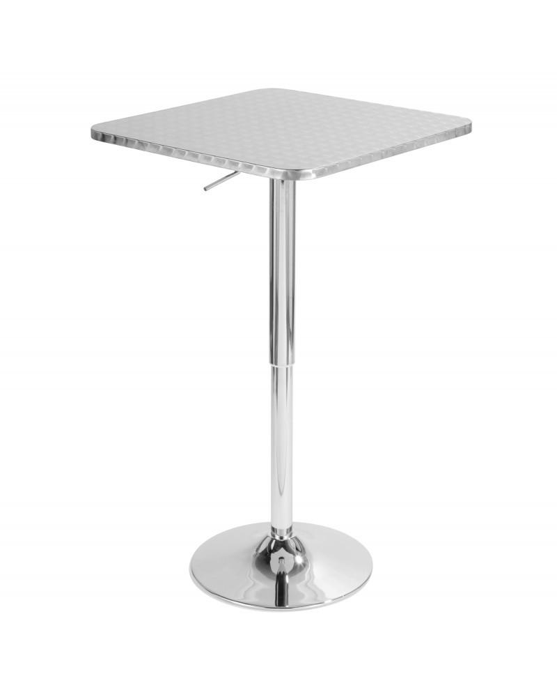 Bistro Contemporary Adjustable Square Bar Table in Silver
