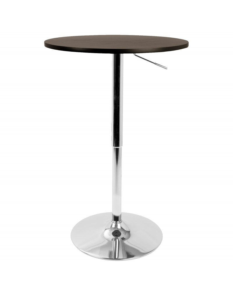 Elia Contemporary Adjustable Bar Table in Brown