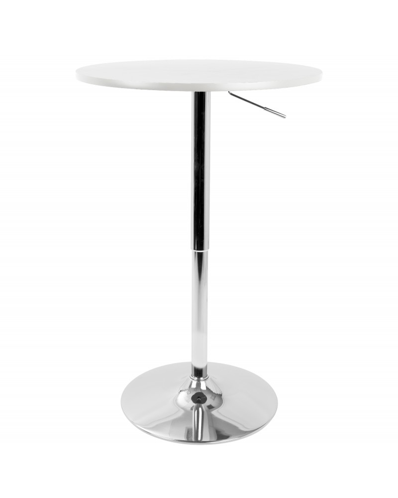 Elia Contemporary Adjustable Bar Table in White
