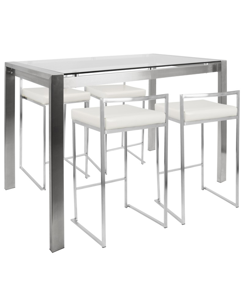 Fuji 5-Piece Contemporary Counter Height Dining Set in Stainless Steel and White